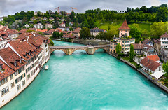 Bern Panorama (Bulda9) Tags: aare bern bridge river switzerland canton cityscape panorama europe green arc arch attraction buildings capital church clouds day horizon landmark nydegg outdoors roof roofs sky skyline summer town tree view water nydeggbrücke bärenpark cyan cloudsstormssunsetssunrises