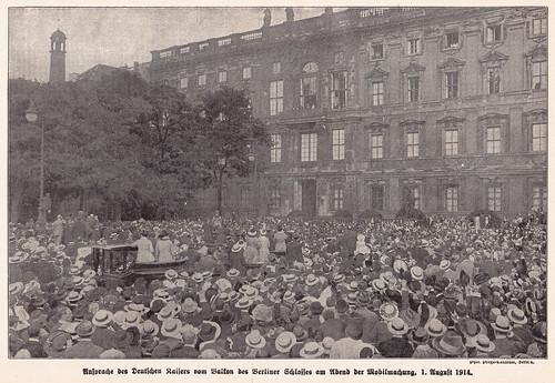 The German Kaiser speaks in Berlin on the first of August, 1914, WWI mobilization day
