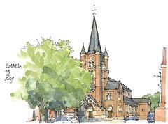 Emael, l'église (gerard michel) Tags: belgium église provincedeliège sketch croquis village architecture aquarelle watercolour