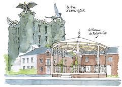 Roclenge, le kiosque; Eben-Emael, la tour d' Eben-Ezer (gerard michel) Tags: belgium provincedeliège village kiosque tour apocalypse sketch croquis architecture aquarelle watercolour