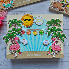 Lawn Fawnatics Challenge #54 Perfect for Parties - Trio of Summer Party Invitations (Marine Simon) Tags: handmade cardmaking carterie papercraft lawnfawn lawnfawnaticschallenge lawnfawnatics summercard spectrumnoir distressink
