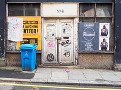 No.4 (Peter.Bartlett) Tags: dumpster shopfront window unitedkingdom city doorway bin peterbartlett urban graffiti uk m43 microfourthirds dilapidated poster olympuspenf facade dustbin door colour liverpool england