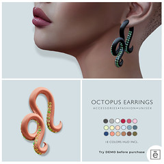 Ohemo - Octopus earrings for HT (>Ale<) Tags: genus jewelry octopus ohemo avatar sl new mesh original earings fantasy rp second life virtual world hud colors unisex