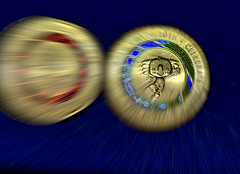 Boriba [Australian $2 coin] (Dreaming of the Sea) Tags: 2018 hss nikond7200 tamronsp90mmf2811macro sliderssunday money macro manipulation coins goldcoast goldcoins red blue green gold orange gimp fantasticmonday