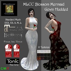 MLCC Blossom Mermaid Gown Hudded Ad Pic (moonlitecat) Tags: mlcc moonlitecat creations blossom mermaid gown hudded 12 textures belleza isis venus freya maitreya tonic fine curvy slink physique hourglass system mesh fitmesh