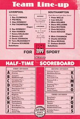Liverpool vs Southampton - 1981 - Back Cover Page (The Sky Strikers) Tags: liverpool southampton football league division one anfield review 30p
