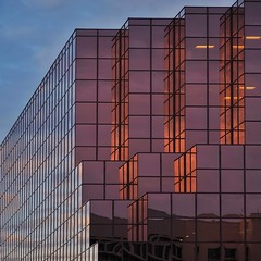 Cubist Architecture in the Morning (2n2907) Tags: abstract architecture reflection windows skyscraper graphic geometric pattern shapes square cubist cubism cubes sunrise red sky building olympus omd mirrorless