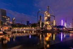 Old Habor Rotterdam (andreasmally) Tags: habor hafen blue hour bridge brücke wasser water netherlands holland niederlande rotterdam