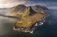 Eroded (KasparsDz) Tags: iceland landscape drone mavic2pro areal nature travel eystrahorn mountains ocean sea coast rocks sky clouds dzenis photo