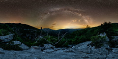 Between a Rock and a Hard Place - open on pc/mac for 360 (Jeff Rowton) Tags: milkyway mountains northcarolina nightsky nightscape 360degree equirectangular 360x180 sphericalprojection stars linvillegorge