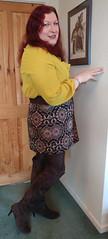 Mustard pussybow blouse multi mini skirt standing3 (dianne66uk) Tags: boots pussybow blouse mini skirt hoisery makeup wide belt redhair
