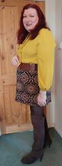 Mustard pussybow blouse multi mini skirt standing2 (dianne66uk) Tags: boots pussybow blouse mini skirt hoisery makeup wide belt redhair
