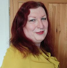 Mustard pussybow blouse multi mini skirt closeup1 (dianne66uk) Tags: boots pussybow blouse mini skirt hoisery makeup wide belt redhair