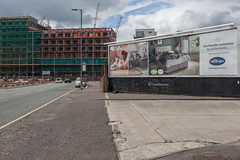 Thompson Street (Gary Kinsman) Tags: clouds grey space architecture manchester 2019 canon5dmkii canoneos5dmarkii urbanlandscape urban topographics newtopographics canon35mmf2 empty postindustrial thompsonstreet advert advertising billboard silentnight construction development