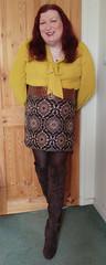 Mustard pussybow blouse multi mini skirt standing7 (dianne66uk) Tags: boots pussybow blouse mini skirt hoisery makeup wide belt redhair