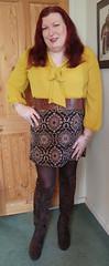 Mustard pussybow blouse multi mini skirt standing5 (dianne66uk) Tags: boots pussybow blouse mini skirt hoisery makeup wide belt redhair