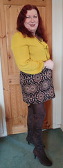 Mustard pussybow blouse multi mini skirt standing1 (dianne66uk) Tags: boots pussybow blouse mini skirt hoisery makeup wide belt redhair