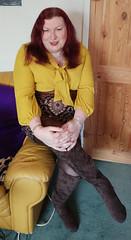 Mustard pussybow blouse multi mini skirt sitting2 (dianne66uk) Tags: boots pussybow blouse mini skirt hoisery makeup wide belt redhair