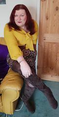 Mustard pussybow blouse multi mini skirt sitting1 (dianne66uk) Tags: boots pussybow blouse mini skirt hoisery makeup wide belt redhair