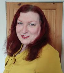 Mustard pussybow blouse multi mini skirt closeup2 (dianne66uk) Tags: boots pussybow blouse mini skirt hoisery makeup wide belt redhair