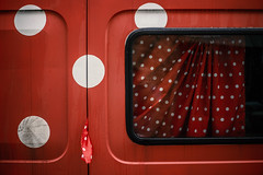 Besançon (France 2019) (theodirector) Tags: circles geometry geometric red redcolor reds circle truck van besancon besançon door curtain pea peas pease peases vehicle car minimalist minimalism cardoor rosso redlovers window windows carwindow dots dot polkadot polkadots