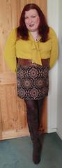 Mustard pussybow blouse multi mini skirt standing6 (dianne66uk) Tags: boots pussybow blouse mini skirt hoisery makeup wide belt redhair
