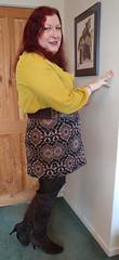 Mustard pussybow blouse multi mini skirt standing4 (dianne66uk) Tags: boots pussybow blouse mini skirt hoisery makeup wide belt redhair