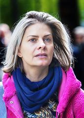 Portrait (D80_534551) (Itzick) Tags: denmark copenhagen candid color colorportrait blonde youngwoman streetphotography scarf earrings face facialexpression portrait d800 itzick