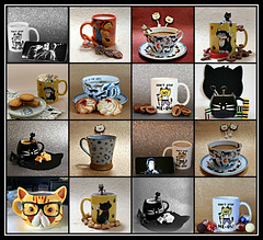 2019 Sydney collage: Cat Coffee Mugs (dominotic) Tags: 2019 coffeeobsession food drink confectionery chocolate biscuits foodphotography yᑌᗰᗰy catcoffeemugscollage catcoffeecups catcoffeemugs catcoffeeandcupsaucer catcollage sydney australia