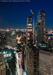 Park Row (20190614-DSC09426-Edit) (Michael.Lee.Pics.NYC) Tags: newyork parkrow lowermanhattan longexposure composite architecture night twilight construction cityscape cityhall sony aerial hotelview municipalbuilding lighttrail millenniumhilton thurgoodmarshallcourthouse a7rm2 fe24105mmf4g eastriver manhattanbridge cityhallpark