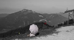 2019 - _DSC5363 Asian tourist in gentle rose coloring an BW (arnpre) Tags: holiday mountains austria österreich urlaub ropeway gondl systemgirak schafberg umbrella schirm sonnenschirm salzburg relief relaxation oberösterreich entspannung upperaustria mountain berg hill zwölferhorn