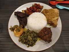 Nasi Padang AUD22 - Warung Kartini, Oakleigh - beef rendang, gulai ayam, gulai silverbeet, paru goreng, telur balado, terong balado - top (avlxyz) Tags: indonesianfood rice curry nasipadang
