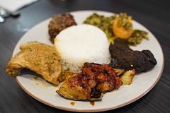 Ayam gulai, trong balado, paru goreng - Nasi Padang AUD22 - Warung Kartini, Oakleigh - chicken curry, sambal eggplant, fried lung (avlxyz) Tags: indonesianfood rice curry nasipadang