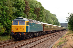47853 1Z49 Bamber Bridge (British Rail 1980s and 1990s) Tags: charter tour railtour passenger locohauled diesel br britishrail crewedieseldepot 47810 d1924 1924 47853 47614 statesmanrail green blue thesettletocarlislecoastalstatesmanr brush sulzer type4 47 class47 mk1 mk2 mki mkii mark lsl locomotiveservicesltd 1z49 train rail railway loco locomotive lmr londonmidlandregion mainline lancs lancashire livery preston liveried traction