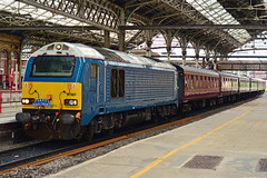 67001 1Z66 Preston (British Rail 1980s and 1990s) Tags: db dbc dbs cargo schenker 67 class67 scottishrailpreservationsociety srps passenger br britishrail mk1 mki mark 1z66 67012 67001 atw arrivatrainswales wsmr wrexhamshropshiremarylebonerailway chiltern silver blue station charter tour railtour locohauled train rail railway loco locomotive lmr londonmidlandregion mainline wcml westcoastmainline lancs lancashire livery preston liveried traction diesel