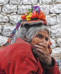 Pensive !! (Lopamudra !) Tags: lopamudra lopamudrabarman lopa portrait lady ladakh jk india aryan tradition traditional colour color colours colourful cold himalaya himalayas highaltitude highland darchik darchick people dress pensive thoughtful aged old