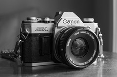 Nothing Beats Film (aaron_gould) Tags: home fun nikkor canon ae1 d7000 35mm portrait art old blackandwhite bw bokeh
