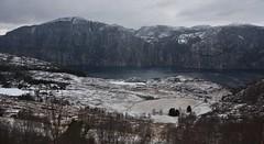 Lysefjorden (EvenHarbo) Tags: nikond7100 nikon norge norway lysefjorden prekestolen preikestolen pulpitrock fjord winter snow frozen ice mountain mountains farm nature landscape rogaland forsand sky