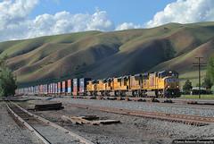Marching Through Echo (jamesbelmont) Tags: unionpacific emd sd70m echo utah railroad railway locomotive train intermodal container stacks