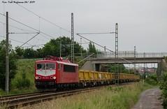 155 159 WFL in Nordhausen 14.06.2019 (Falk Hoffmann) Tags: elok eisenbahn bahnhof güterzug wfl stromcontainer br155 br250 orientrot
