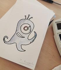 Just a little monster I drew  #artist #art #aquarelle #watercolour #vangoghwatercolors #monster (Earenstain) Tags: art watercolour artist vangoghwatercolors aquarelle monster