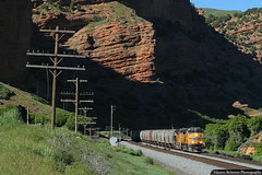 Light and Shadow (jamesbelmont) Tags: unionpacific grain shuttle railroad railway train locomotive echocanyon utah echo shadow light signal ge c44accte