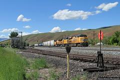 The 'Park City Main' (jamesbelmont) Tags: unionpacific mwcnp echo utah railroad railway locomotive ge es44ah track switchstand yard loader cars