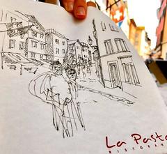 """Ein schneller Sketch zwischen den Malzeiten - im Restaurant """"La Pasta"""" im Niederdörfli in Zürich. (prisi_aroundtheworld) Tags: kunst art niederdorf schweiz zürich zeichnung skizze drawing urbansketcher urbansketchers urbansketching usk sketching sketch"""