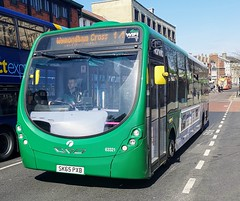 First Norwich 63321 is on Castle Meadow while on route 14 to Wymondham Cross via City Centre. - SK65 PXB - 1st April 2019 (Aaron Rhys Knight) Tags: firsteasterncounties firstnorwich greenline 63321 sk65pxb 2019 castlemeadow norwich norfolk first wrightbusstreetlite