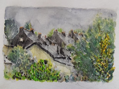 fin de printemps à Cléguer (christian angué) Tags: toit village campagne pluie morbihan bretagne ardoise croquis cheminée maison aquarelle