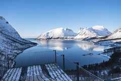 Bergsbotn (asbjørnhbogstad) Tags: nature blue ocean senja norway bergsbotn platform mountain fjord