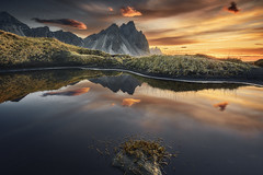Vestrahorn sunrise (EtienneR68) Tags: a7r3 a7riii eau hills iceland islande landscape montagne montain nature mer panorama paysage reflection reflet scenery scenic sea sony stokknes sunrise travel vestrahorn voyage water