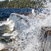Waves whipped up by the wind crash on the breakwater , Waskesiu, Prince Albert National Park, Saskatchewan
