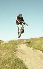 summer16323 (dannondale) Tags: dropbars bicycle jump table mountainbike bridgestone mb3 filmphotography nikonf2 expiredfilm 35mm fujifilm superia